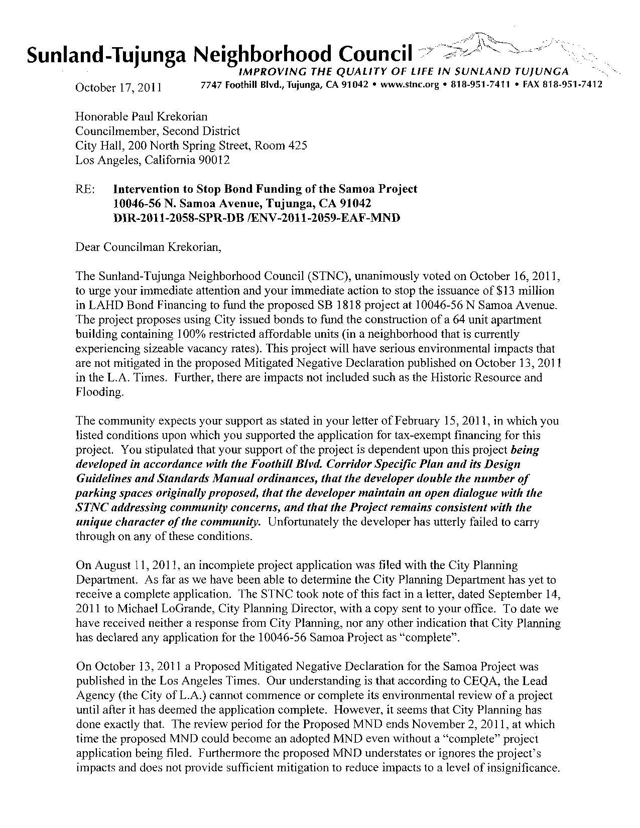 STNC Demands Action from CM Krekorian SunlandTujunga Alliance